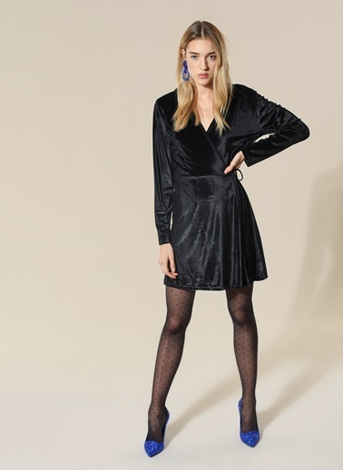 Agenda Kapüşonlu Kadife Anvelop Elbise Siyah